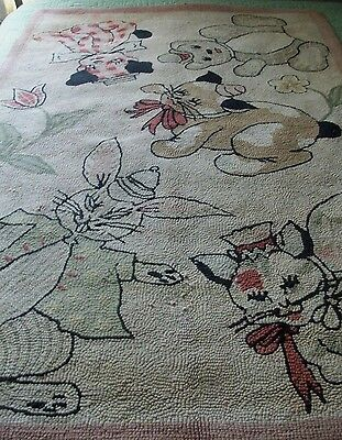 "*RARE* ANTIQUE HAND HOOKED RUG 46""x68"" ~ ADORABLE ANIMALS ~ RABBIT ~ PUPPY ~ CAT"