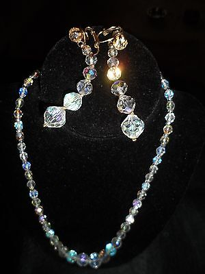 Vintage Antique Necklace Earring Set Rainbow Crystal Balls Glass Wedding Bridal