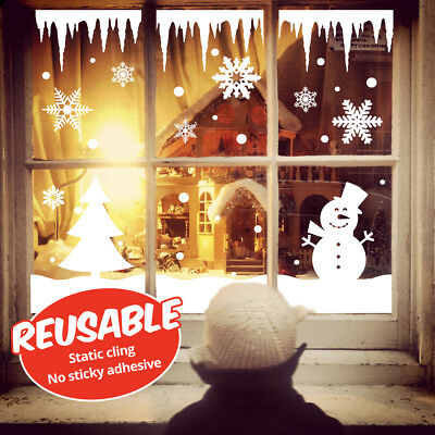 REUSABLE Static cling window stickers Snowflakes, Icicles, Snowmen winter scene