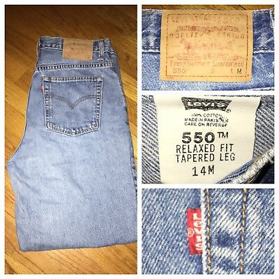 Vtg Levi's 550 High Waist Blue Mom Relaxed Fit Tapered Leg Jeans Sz 14 M
