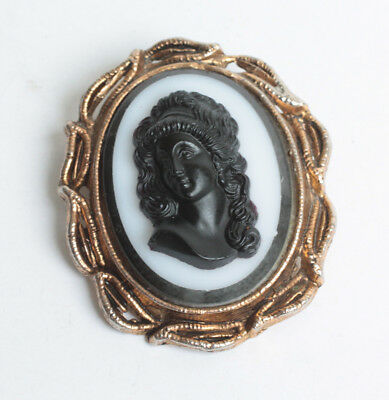Vintage Black Glass High Relief Cameo Brooch Gold Tone Frame