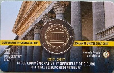 2 euro Belgium  2017 Gent coin card ufficial French version