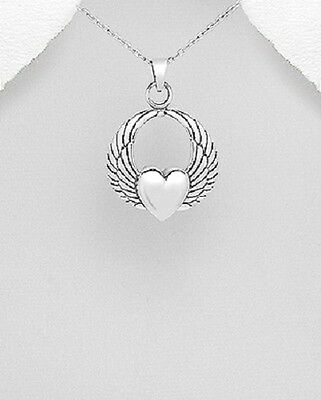 Sterling Silver 925 Angel Wings with Heart Pendant
