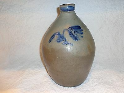 Antique Cobalt Blue Decorated Stoneware Pottery Storage Jug/Jar