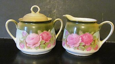Vintage Germany Hand Painted Sugar And Creamer Set