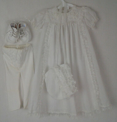 Alexis Antique Baby Doll Dress Bonnet Bootie Stocking  ~ White Lace Embroidered