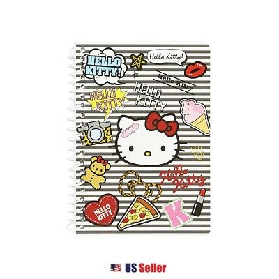 Sanrio Hello Kitty Mini Spiral Lined Notebook Note Pad : Patch Kitty