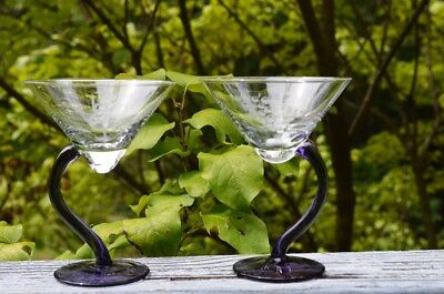 Pair Of Idol Vodka Martini Glasses With Twisted Purple Stems