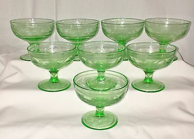 "8 Hazel Atlas CLOVERLEAF GREEN *3"" FOOTED SHERBETS* PATTERN INSIDE*"