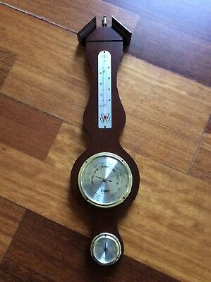 Vintage wooden barometer thermometer - Made in Japan
