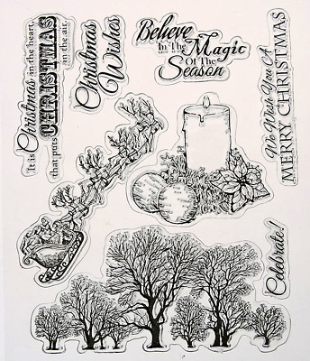 Clear cling stamp for Card making & stamping MERRY CHRISTMAS WISHES
