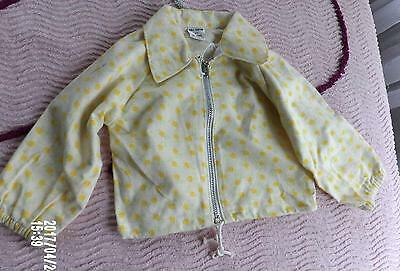 VTG 50s TODDLER GIRLS YELLOW FLOWER BUD COTTON FLANNEL ZIP JACKET NEW OLD SZ 2