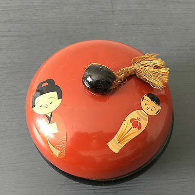 Vintage Powder Box with String Braid Hand-Painted Asian Laquer w/ Kokeshi Geisha