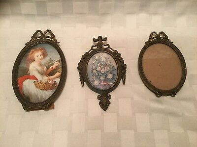 Vintage Italy Small Ornate Metal Brass Oval Picture Photo Frames Lot of 3, E1