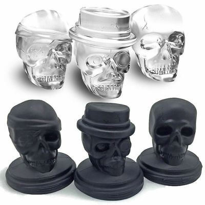 3D Skull Hallween Ice Cube Tray Silicone Molds Chocolate Mould Whiskey Cocktail