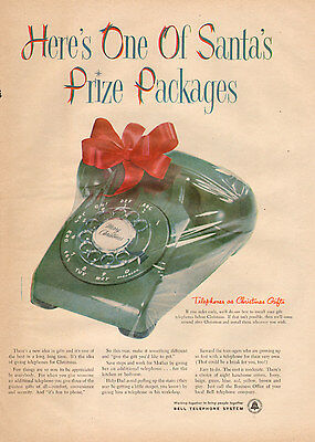 1950s vinbtage Christmas AD New Rotary Phone Great Gift Bell Telephone 121116