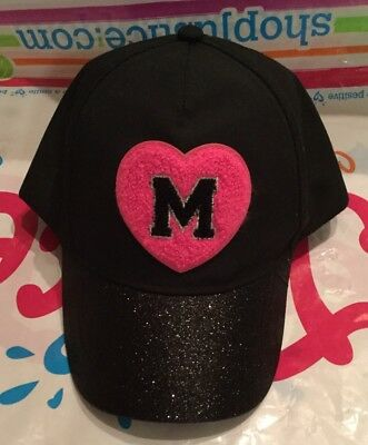 """NWT Justice Girl's Embroidered Initial """"M"""" Heart Baseball Cap."""