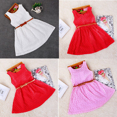 AU STOCK Baby Girls Kids Lace Party Dress Clothes Sleeveless Dresses Sundress