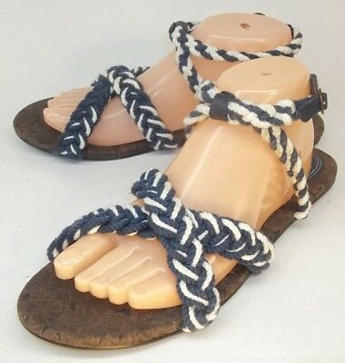 fd8114871fd3ab Gap Womens Ankle Strap Sandals US 10 Blue White Braided Rope Buckle Flats  1082