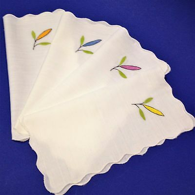 4 x Lady's Hankies Handkerchiefs - Hand Embroidered Satin Stitch, Scalloped Edge