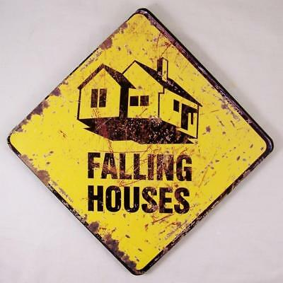 Wizard of Oz Wicked Witch Falling Houses Sign Halloween Wood Wall Plaque Tornado