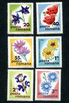 ROMANIA 1975 Flowers, SET OF 6, MINT Never Hinged