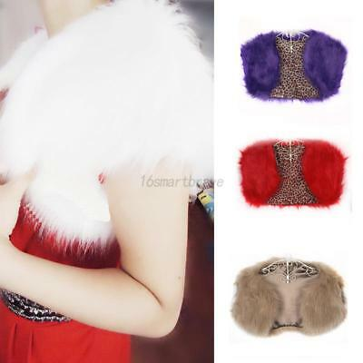 Fashion Women Faux Fur Wrap Jacket Wedding Party Vest Shawl Bolero Shrug Coat US