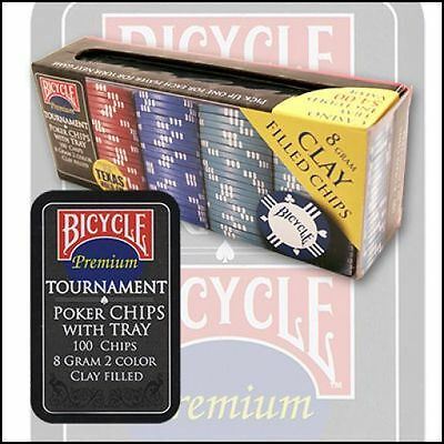 Poker Clay Chip Set 100 Count Bicycle With Tray Casino Card Games Magic Tricks