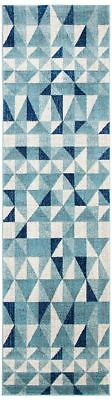 Hallway Runner Rug Hall Runner Floor Carpet Mat Blue Ivory Modern 4 Meters Long