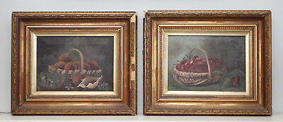 A Good Pair of c19th Still Life Oil Paintings, Gilt Frames, Oranges & Cherries