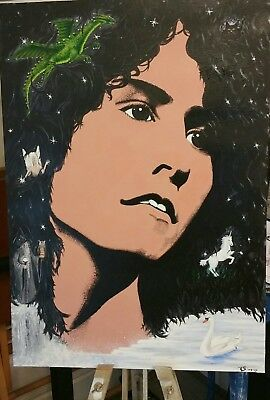 Marc Bolan original acrylic painting on canvas.