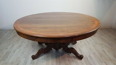19th Century rare antique Italian large round dining table walnut carved, inlay