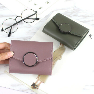 Fashion Solid Color Women Leather Wallet Mini Card Holder Case Buckle Purse