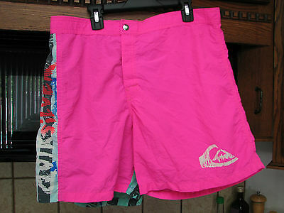 Quiksilver vintage surf board shorts hot pink men's 34 retro surfing 1980s