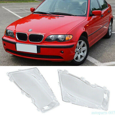 Pair Left + Right Headlight Lens Cover For BMW E46 3-Series 2001-2006 4-Door as0
