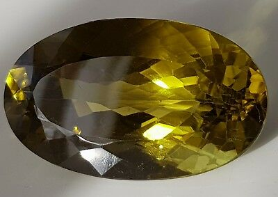 WaterfallGems Big Olive Citrine, 41.9x25mm, 111.50ct