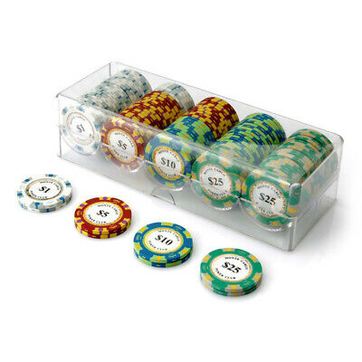 100 Chip Monte Carlo Poker Set Clear Acrylic Rack Cover 14g Chips Any Combo New