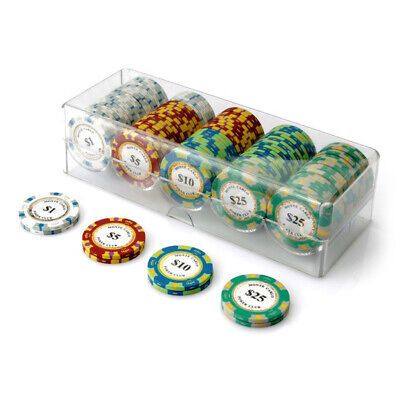 100 Chip Monte Carlo Poker Set Clear Acrylic Rack Cover 14g Chips New Sealed