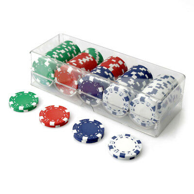 100 Chip Dice Poker Set Clear Acrylic Rack Cover 11.5g Chips Value New Sealed