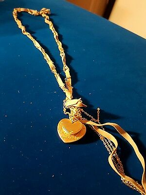 joblot 10 ladies suede/gold tone chain with heart pendants #10 D