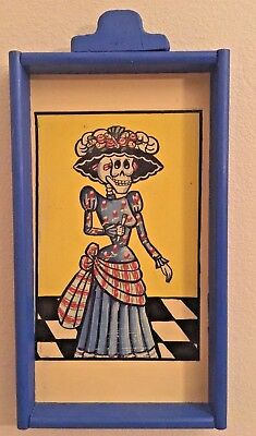 """Mexican Folk Art Painting Day of The dead  Catrina frame Wooden Niche Large 26"""""""
