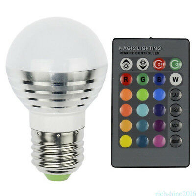 E27 3W Dimmable RGB LED light Lamp Colors Changing Bulb + Remote Control 220V H8