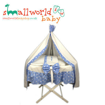 Personalised Boys Blue Star Skirt Moses Basket Cover Drape (NEXT DAY DISPATCH)