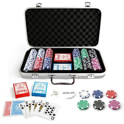 300 Chips Poker Set Silver Carry Case Dice Chips 11.5g Chips Plastic Cards New