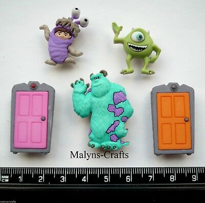 Disney MONSTERS INC Novelty Craft Buttons Mike Wazowski Sully Boo Door Children