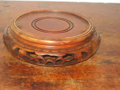Old Oriental Wooden Stand Carved Base