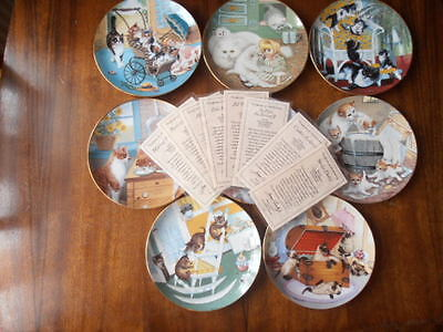 Gre Gerardi Country Kitties Series of 8 Plates with COA