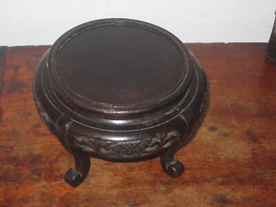 Raised Old Oriental Wooden Stand Carved Base