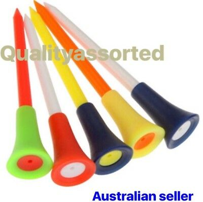 100 X TOP QULITY LARGE 83mm PLASTIC & RUBBER CUSHION TOP GOLF TEE Mixed Colours