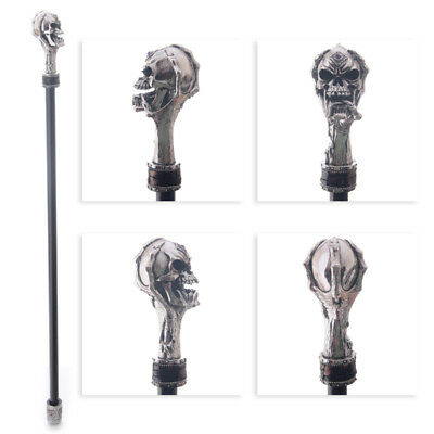 Decorative Walking Stick with Fantasy Silver Skull Top